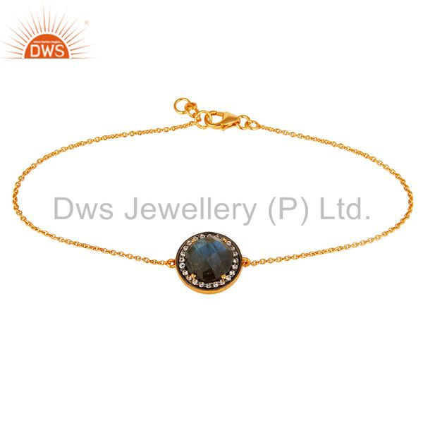 18K Yellow Gold Plated Sterling Silver Labradorite And CZ Chain Bracelet