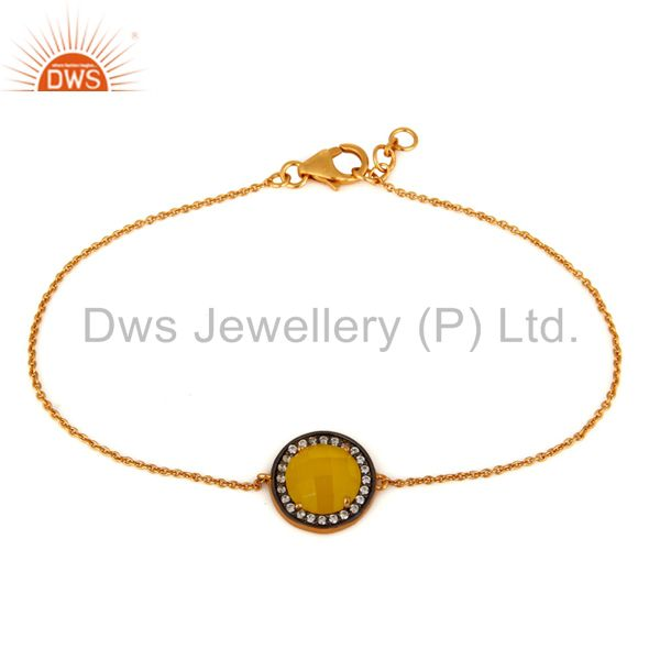 925 sterling silver yellow moonstone & cubic zirconia bracelet with gold plated
