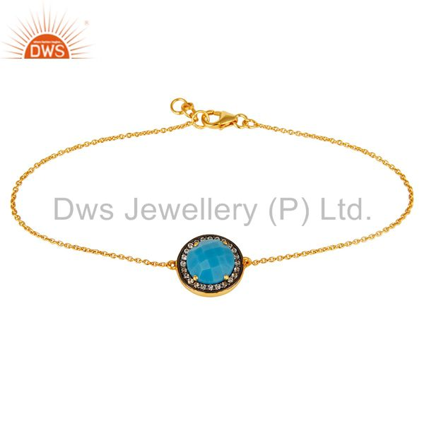 18K Gold Over Sterling Silver Turquoise Gemstone And CZ Chain Bracelet