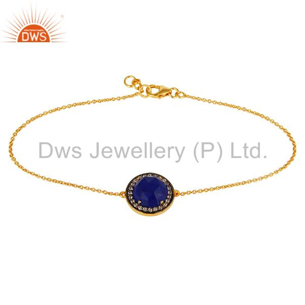 18k gold plated sterling silver blue aventurine and cz chain bracelet