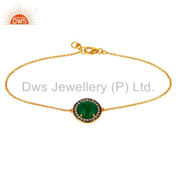 18K Yellow Gold Plated Sterling Silver Green Aventurine Chain Bracelet With CZ