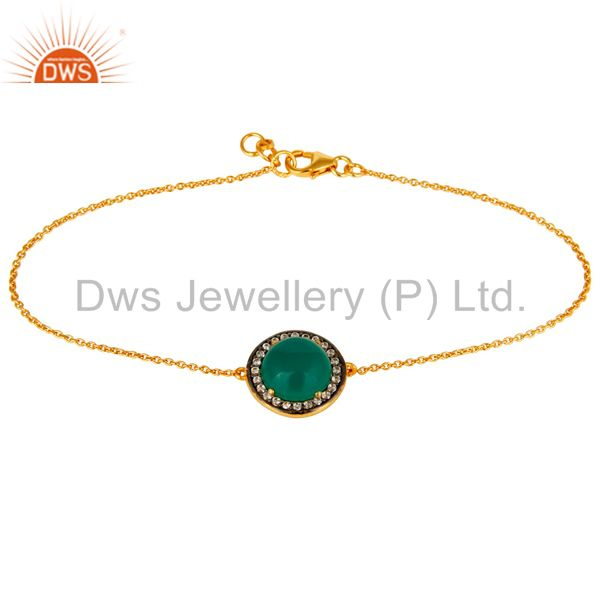 18K Yellow Gold Plated Sterling Silver CZ And Green Onyx Chain Bracelet
