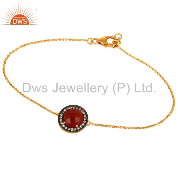 925 sterling silver red onyx gemstone & white zircon bracelet with gold plated
