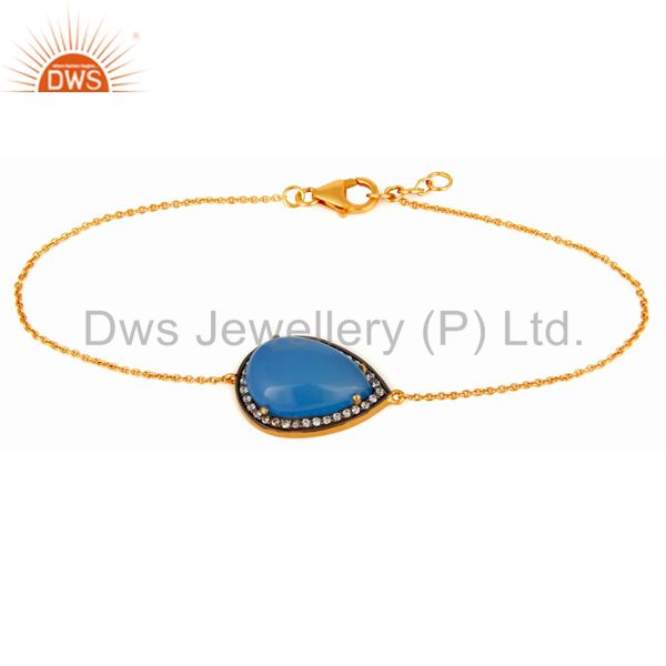 18K Yellow Gold Plated Sterling Silver Natural Blue Chalcedony Gemstone Bracelet