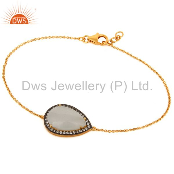 Ladies Fashion Gold-Plated Sterling Silver Chain Link Bracelet With Moonstone