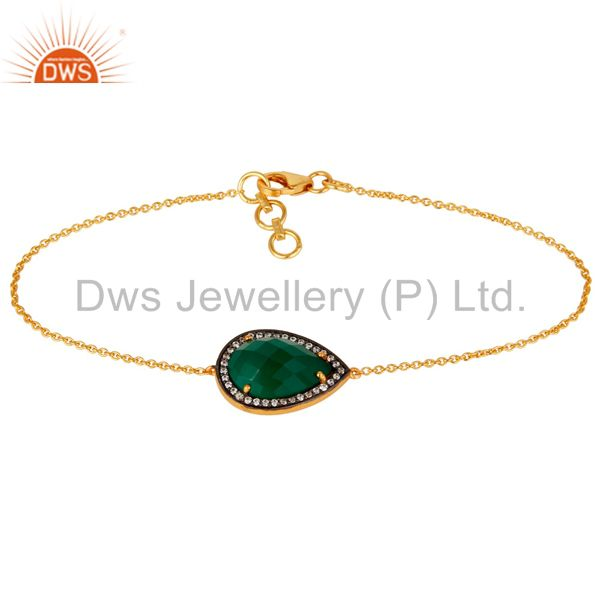 Solid 925 Silver With Gold Plated Green Onyx Gemstone Chain Bracelet With CZ