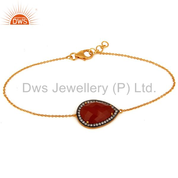 Solid Sterling Silver With Gold Plated Red Onyx Gemstone Chain Bracelet With CZ