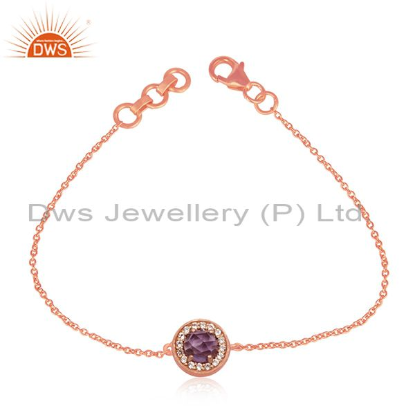 92.5 Silver Rose Gold Plated Cz and Amethyst Birthstone Chain Bracelet Supplier