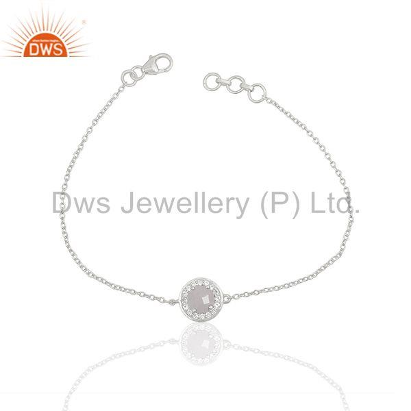 White Topaz 925 Sterling Silver Chain and Link Bracelet Manufacturer