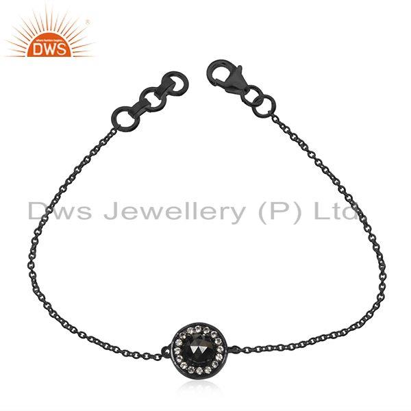 Black Rhodium Plated 925 Silver Hematite Gemstone Chain Bracelet Wholesale
