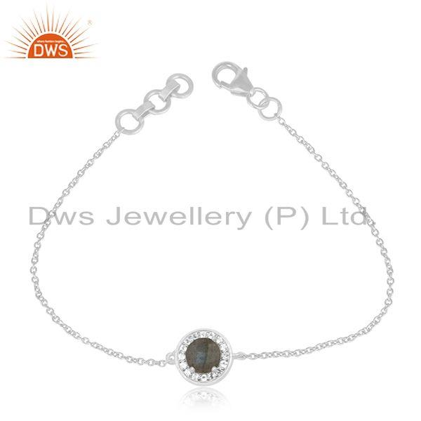 Natural Labradorite Gemstone Fine 925 Sterling Silver Chain Bracelet Wholesale
