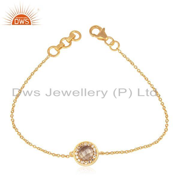 White and Lemon Topaz Gold Plated 25 Silver Gemstone Bracelet Manufacturer