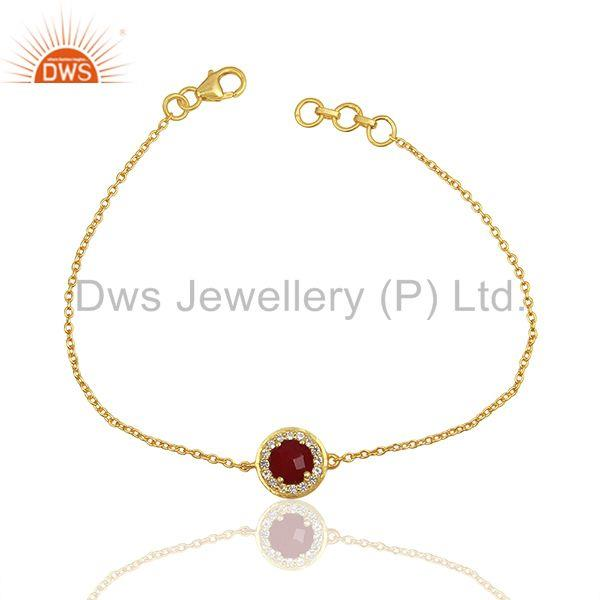 Red ruby and white topaz gemstone solid silver chain bracelet