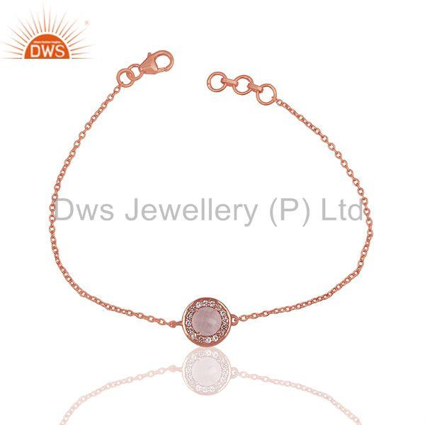 Rose Quartz and White Topaz 925 Silver Chain Bracelet Wholesale