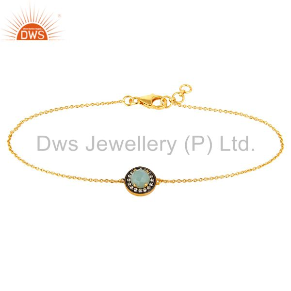 18k gold plated sterling silver green chalcedony and cz chain bracelet