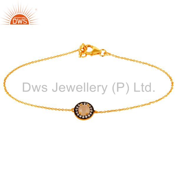 18K Yellow Gold Plated Sterling Silver Rose Chalcedony And CZ Chain Bracelet