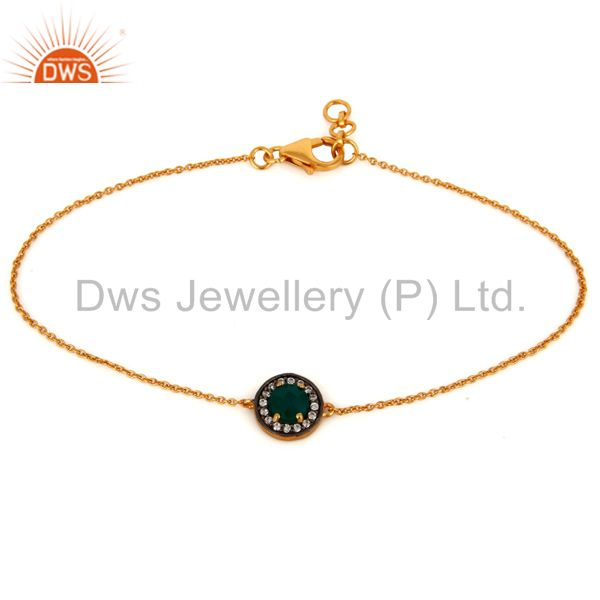 18K Gold Over Sterling Silver Cubic Zirconia Accent Green Onyx Bracelet Jewelry