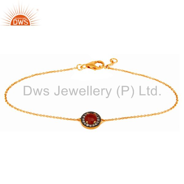 Red Onyx Gemstone Sterling Silver With 24K Gold Plated Chain Bracelet With CZ