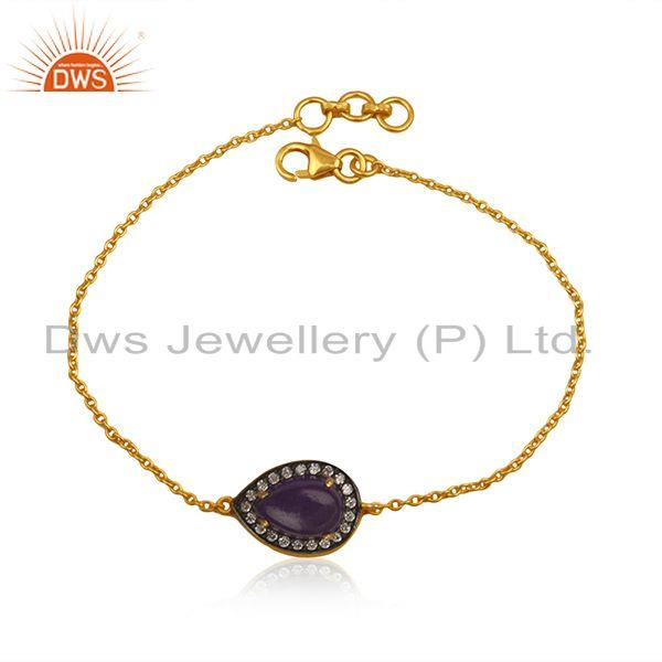 Natural Aventurine Gemstone Silver Gold Plated Chain Bracelet Jewelry