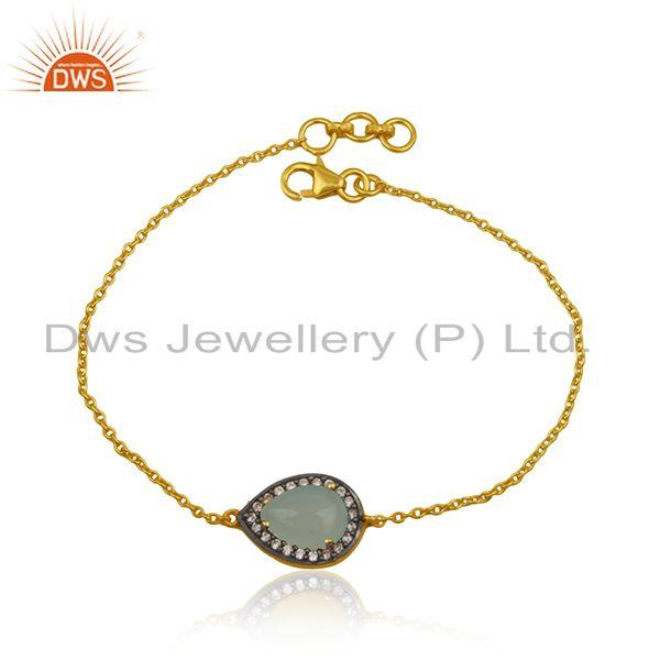 CZ Aqua Chalcedony Gemstone Gold Plated Silver Chain Bracelet Jewelry