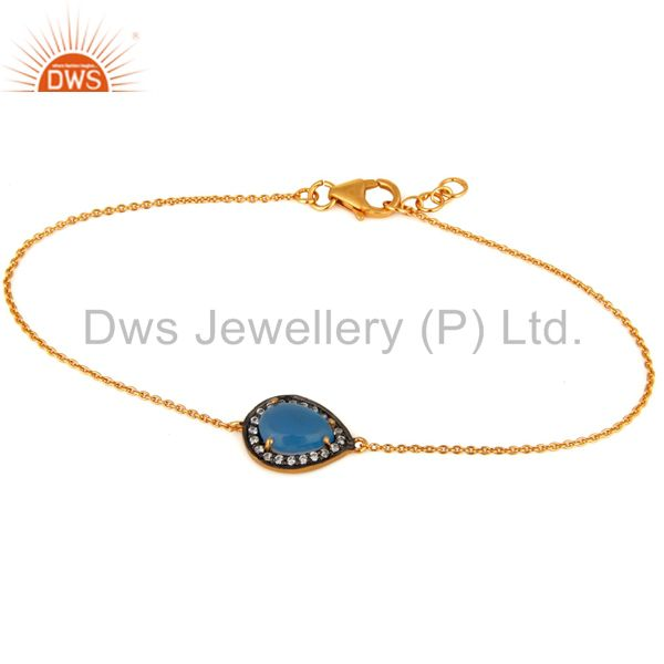 Blue aqua chalcedony gemstone bracelet made in 18k yellow gold plated 925 silver