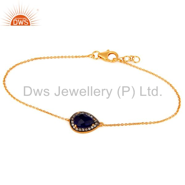 Corundum Blue Sapphire And CZ Bracelet in Sterling Silver with 18K Gold Plated