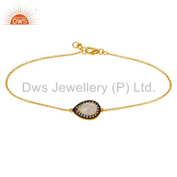 18k gold plated sterling silver white moonstone and cz chain bracelet