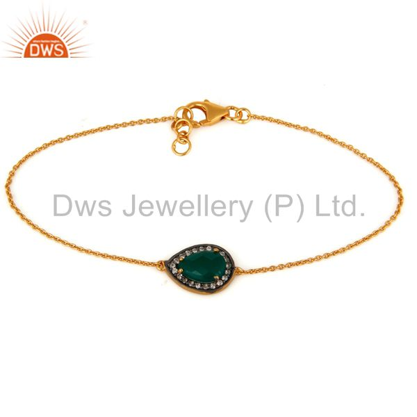 24k Gold Over 925 Silver Natural Green Onyx Gemstone & White Zircon Bracelet