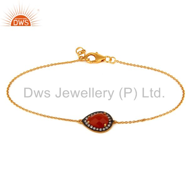 Natural red onyx & white zircon fashion bracelet made in 22k gold over silver