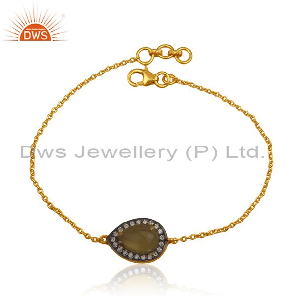 Yellow Chalcedony CZ Gemstone Designer Gold Plated Silver Chain Bracelet Jewelry