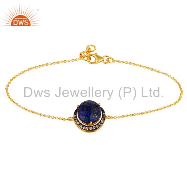 Natural Lapis Lazuli Gemstone Bracelet Made In 18K Gold On Sterling Silver