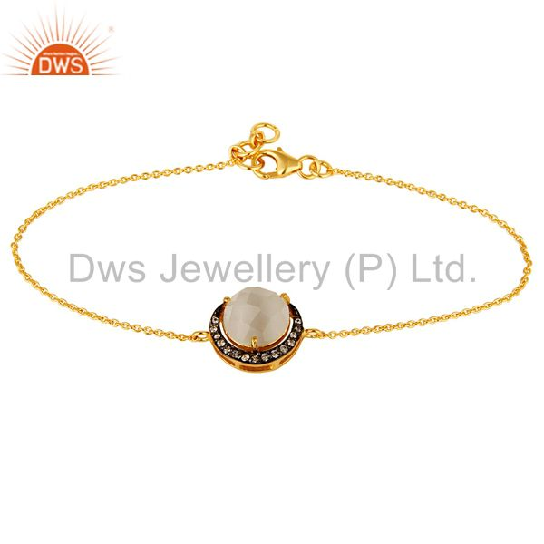 18k yellow gold plated sterling silver white moonstone & cz chain bracelet