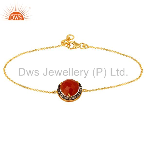 Red Onyx And Cubic Zirconia Fashion Bracelet In 18K Gold Over Sterling Silver