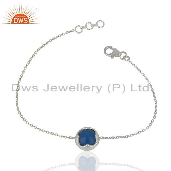 Blue chalcedony chain and link 925 sterling silver bracelet jewelry