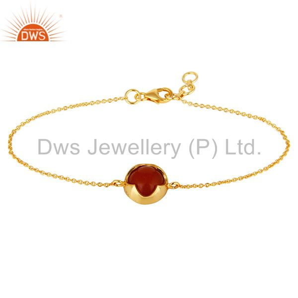 Shiny 14k yellow gold plated sterling silver red onyx gemstone chain bracelet