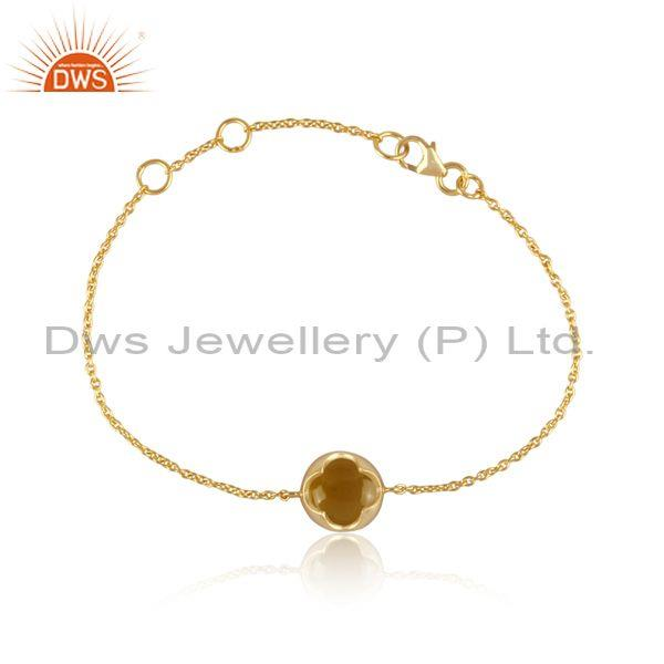 Yellow chalcedony set gold on silver floral charm bracelet