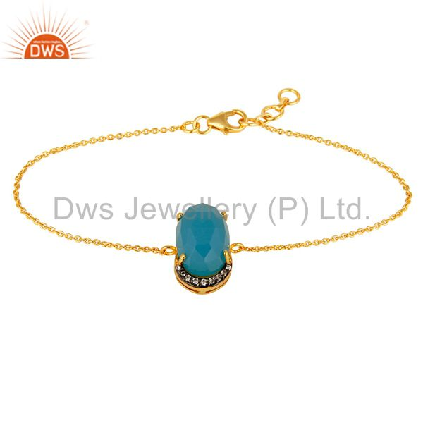 18k yellow gold plated sterling silver aqua blue chalcedony chain bracelet