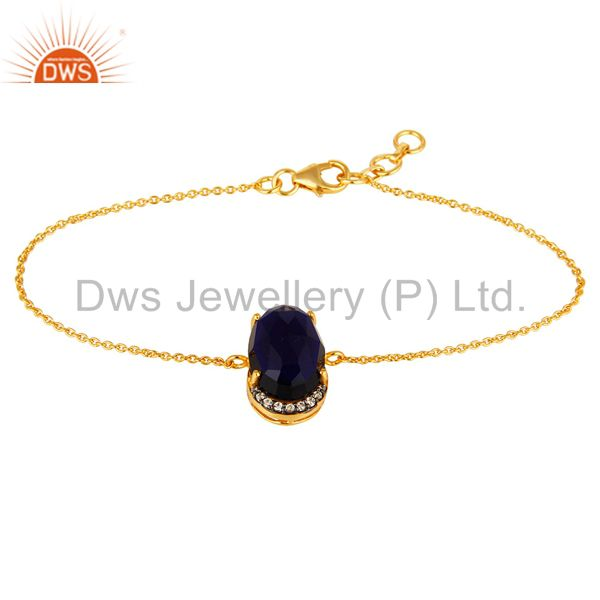 18K Yellow Gold Plated Sterling Silver Blue Corundum And CZ Chain Bracelet
