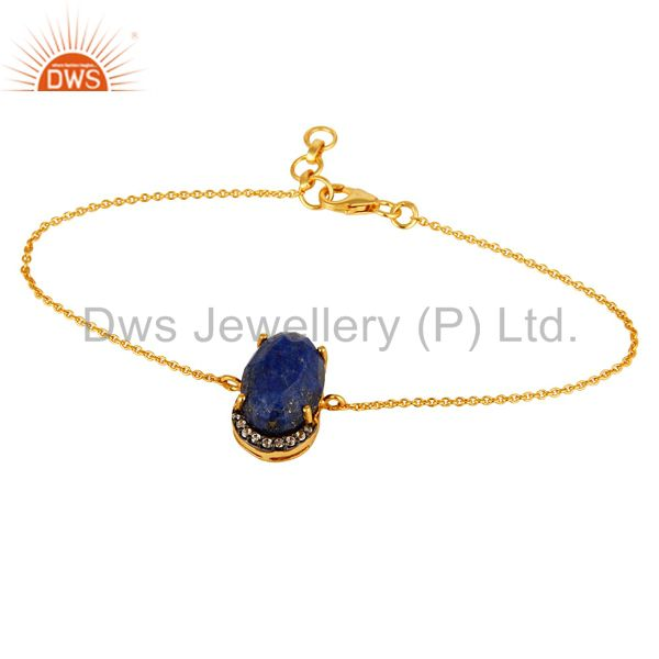 18K Yellow Gold Plated Sterling Silver Lapis Lazuli Gemstone Fashion Bracelet