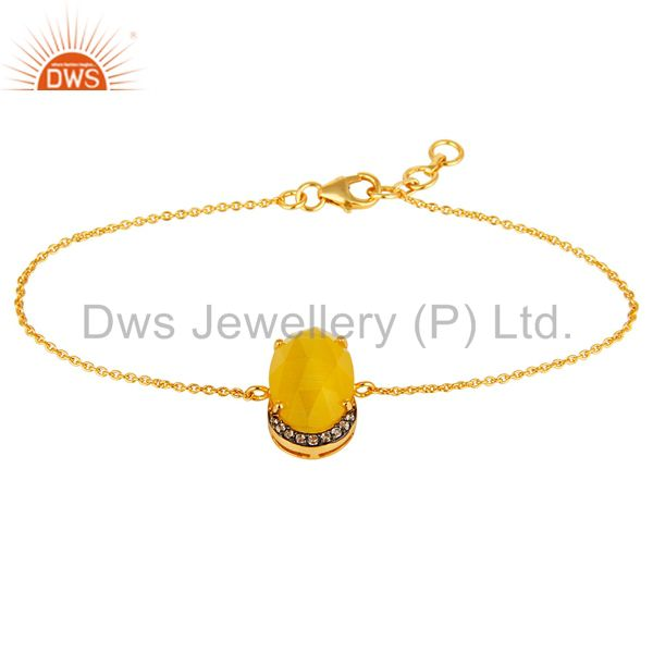 18k gold plated sterling silver yellow moonstone fashion bracelet with cz