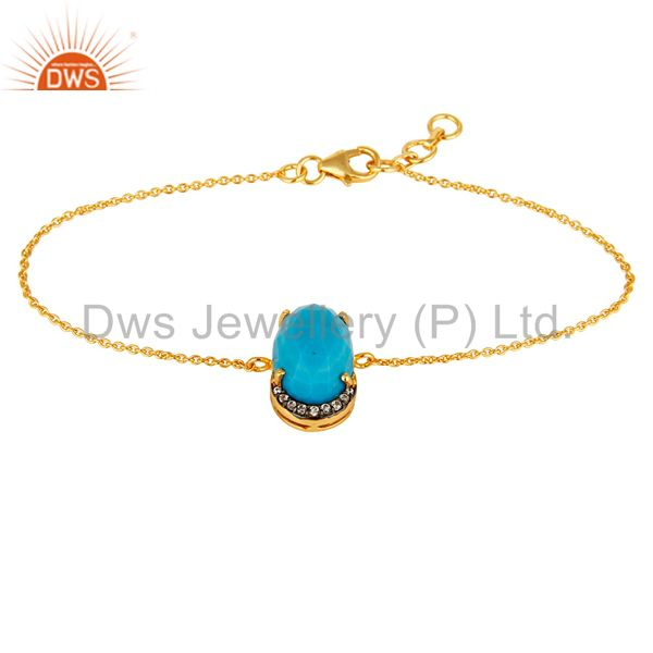 18K Yellow Gold Plated Sterling Silver Turquoise Prong Set Bracelet With CZ