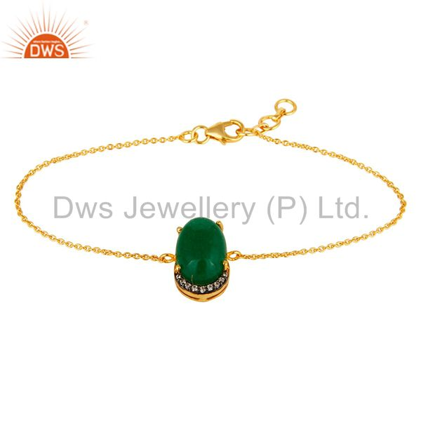 18K Yellow Gold Plated 925 Silver Green Aventurine Prong Set Bracelet With CZ