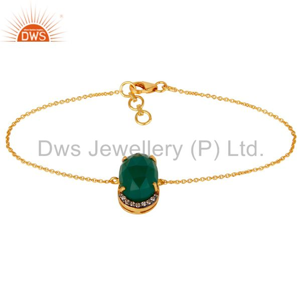 18K Gold Plated 925 Silver Green Onyx Rose Cut Prong Set Bracelet With CZ