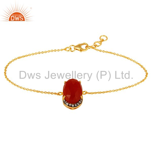 18K Gold Plated Sterling Silver Red Onyx Gemstone Chain Bracelet With CZ