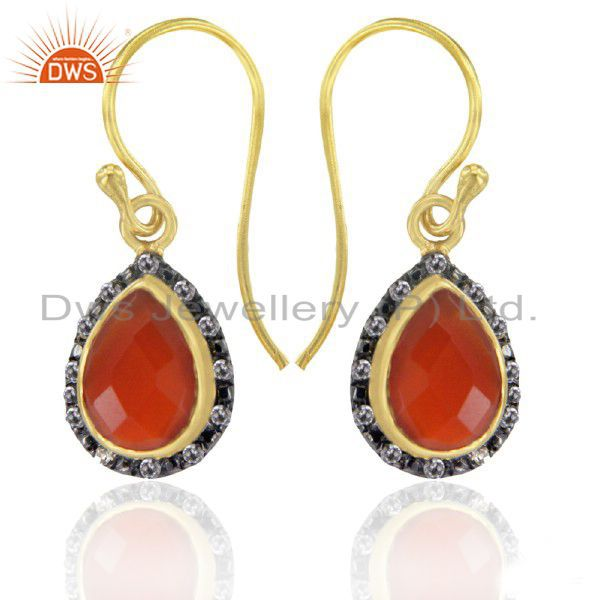 Fine Jewelry Natural Red Onyx & White Topaz Sterling Silver Dangle Earrings