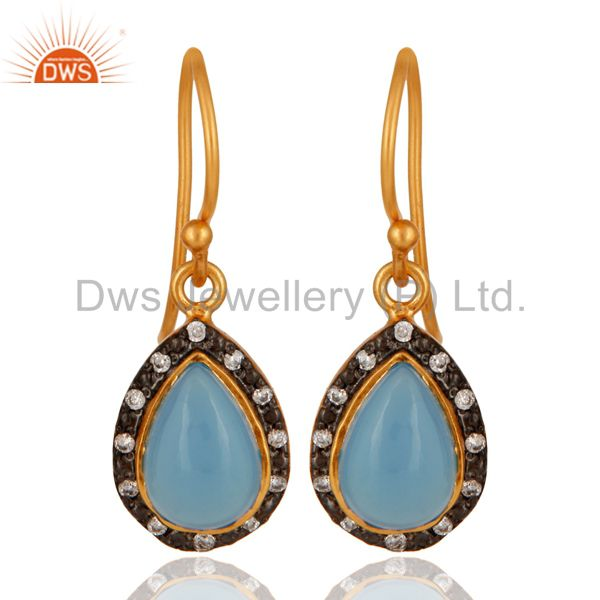 Natural Blue Chalcedony Gemstone Sterling Silver Dangle Earring With Gold Vermei