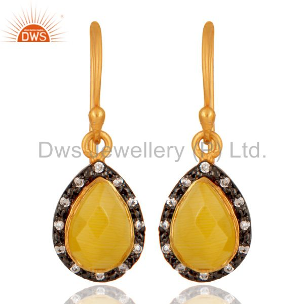 Faceted Yellow Moonstone Plated Gold or Sterling Silver Drop Earrings With CZ