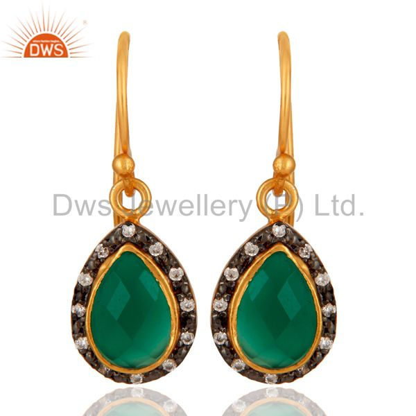 925 Sterling Silver Green Onyx Gemstone 22K Gold Plated Earring With CZ