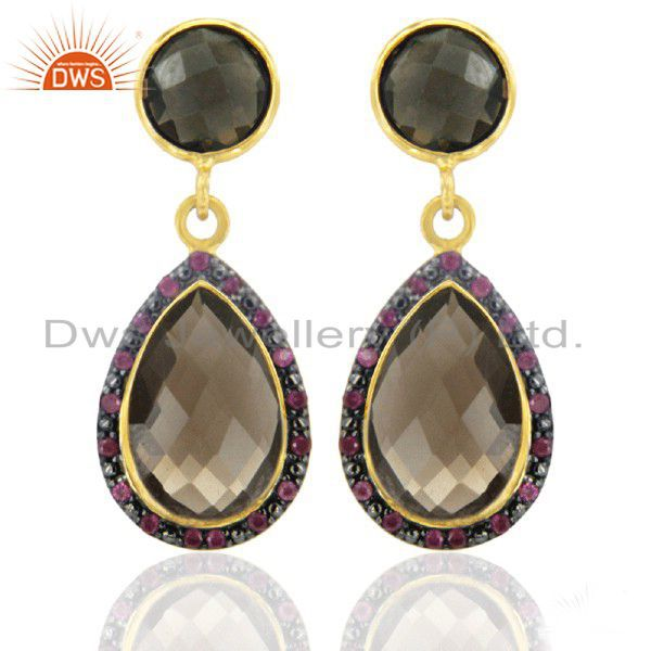 Estate 18KT Gold Over Sterling Silver Smoky Quartz Pear RUby Drop Earrings
