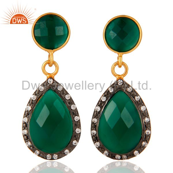 18K Gold Plated Sterling Silver Green Onyx Faceted Drops Earrings With CZ